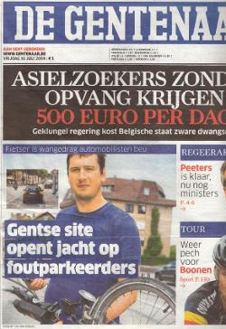 voorpagina De Gentenaar met foutparkeerders.be