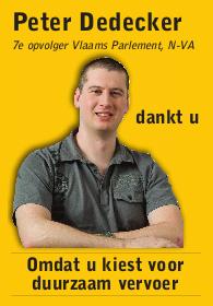 Peter Dedecker dankt u, omdat u kiest voor duurzaam vervoer
