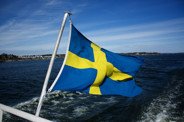 Swedish flag boat
